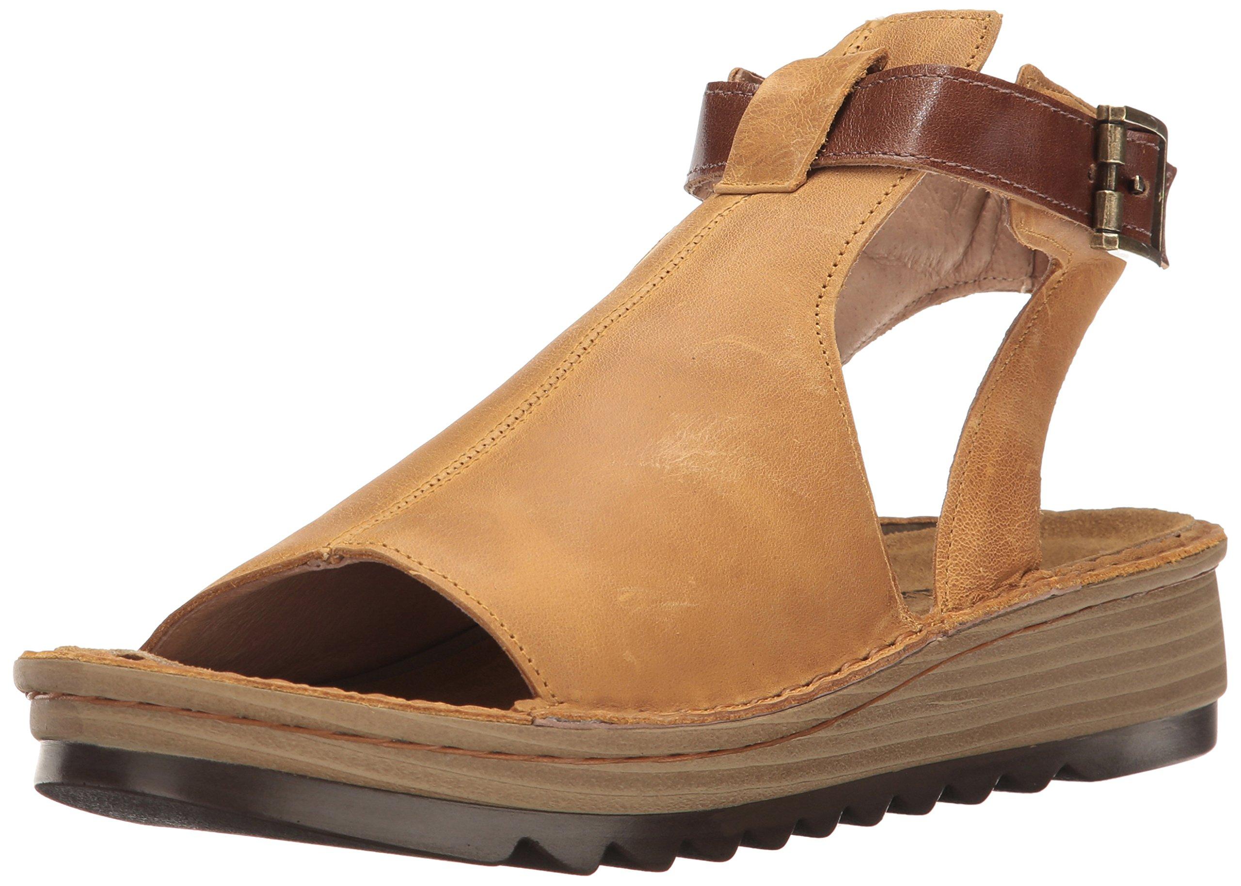 Naot Footwear Women's Verbena, Oily Dune Nubuck/Maple Brown Leather, 38 (US Women's 7) M