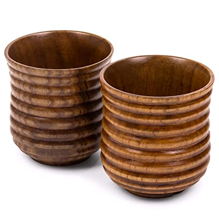 Buenalife Small Wooden Cups Set Of 2 For Drinking Tea Coffee Wine Beer Hot Drinks 170 Ml Dark Ribbed
