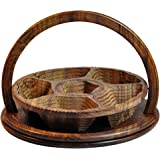 Rosewood-14inc 3 Compartment From USA Seller Wooden Collapsible basket carved