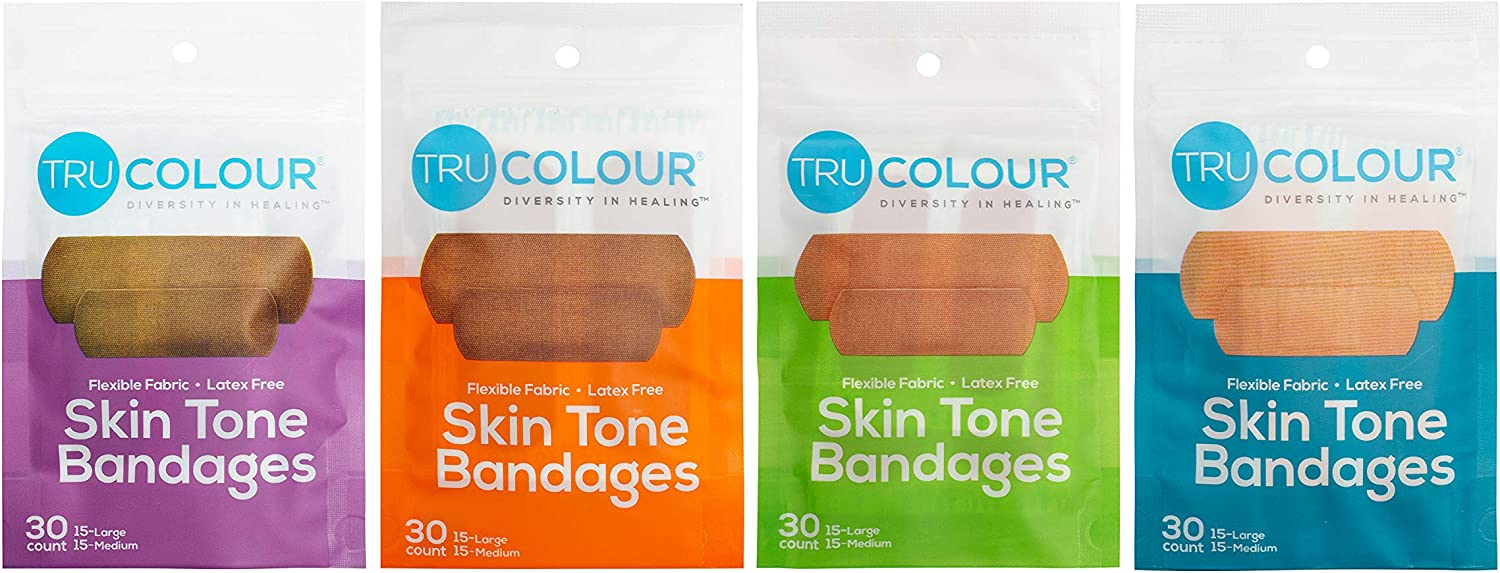 Tru-Colour Skin Tone Bandages Variety 4 Bag Pack (120 Count)