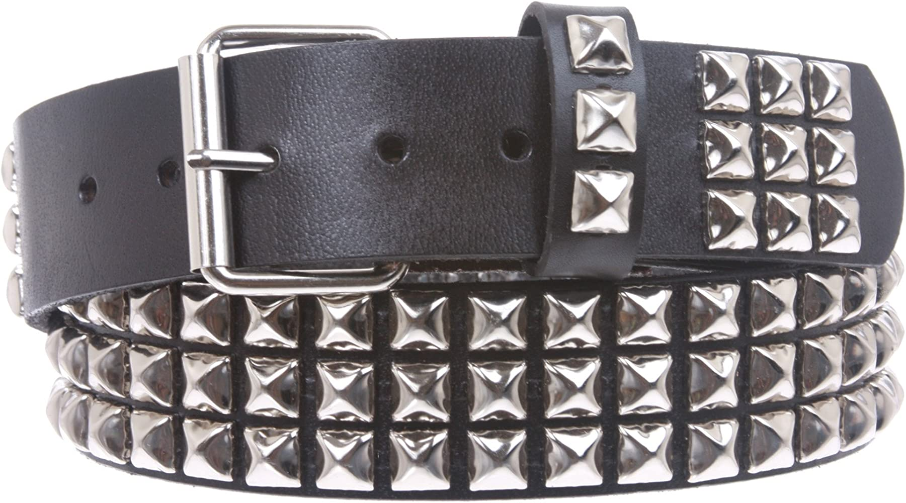 GOTH PUNK SILVER STUD STUDDED WHITE SNAP ON BELT L 38 NEW