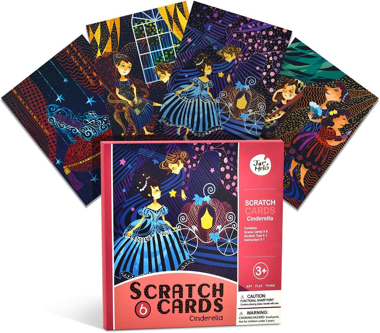 SMLRO Scratch Art Notebooks 6PCS Rainbow Mini Notes /& 6 Wooden Styluses Rainbow Scratch Art Papers for Kids Arts /& Crafts