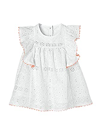 c1f46e51a72 Vertbaudet Baby Girls  Dress with Broderie Anglaise and Frill White Light  Solid ...