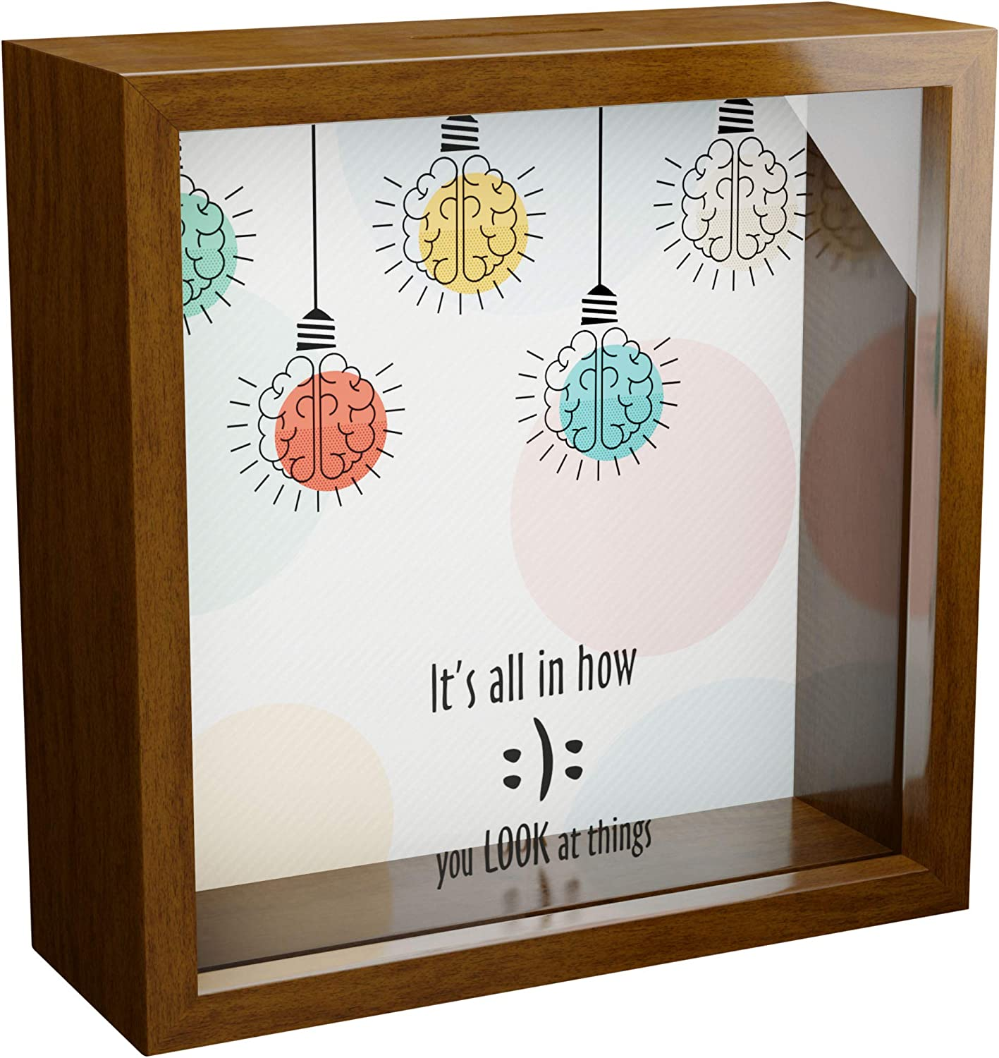 Psychology Gifts | 6x6x2 Memorabilia Shadow Box with Glass Front | Wall Decor Keepsake for Home and Office | Wooden Décor for Psychologist or Therapist | Great Gift to Collect Special Items