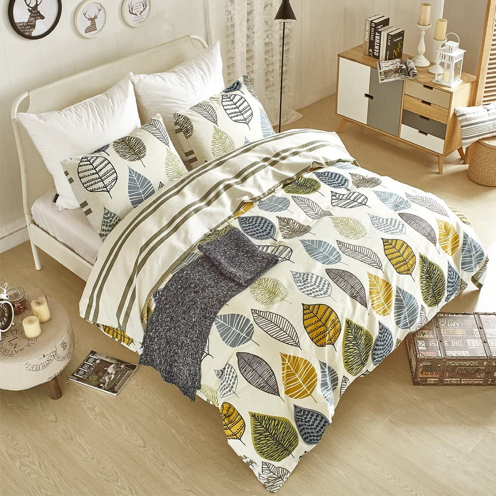 "AiMay Duvet Cover Set 100% Natural Cotton 3 Piece Bedding Sets with Zipper Closure Ultra Soft Comfy Breathable Fade Resistant Hypoallergenic Colorful Leaves Pattern Design Queen Size(90""x90"")"