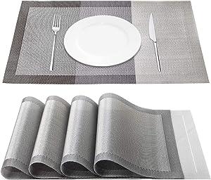 Chrider Placemats Set of 4, Heat-Resistant Woven Vinyl Placemat, Washable PVC Mats Set, Non-Slip Premium Plastic Table Mats for Dining Table, Kitchen Table (Gradient Gray)