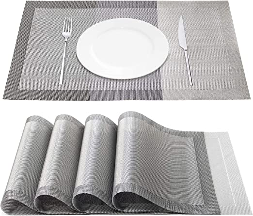 Placemats PVC Heat-resistant Woven Washable Set of 4 Non Slip Dinner Table Mat