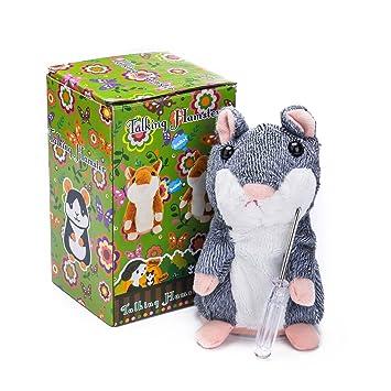 Gris Cute imitación PET / Talking Hamster repite lo que dices / juguete de peluche animal