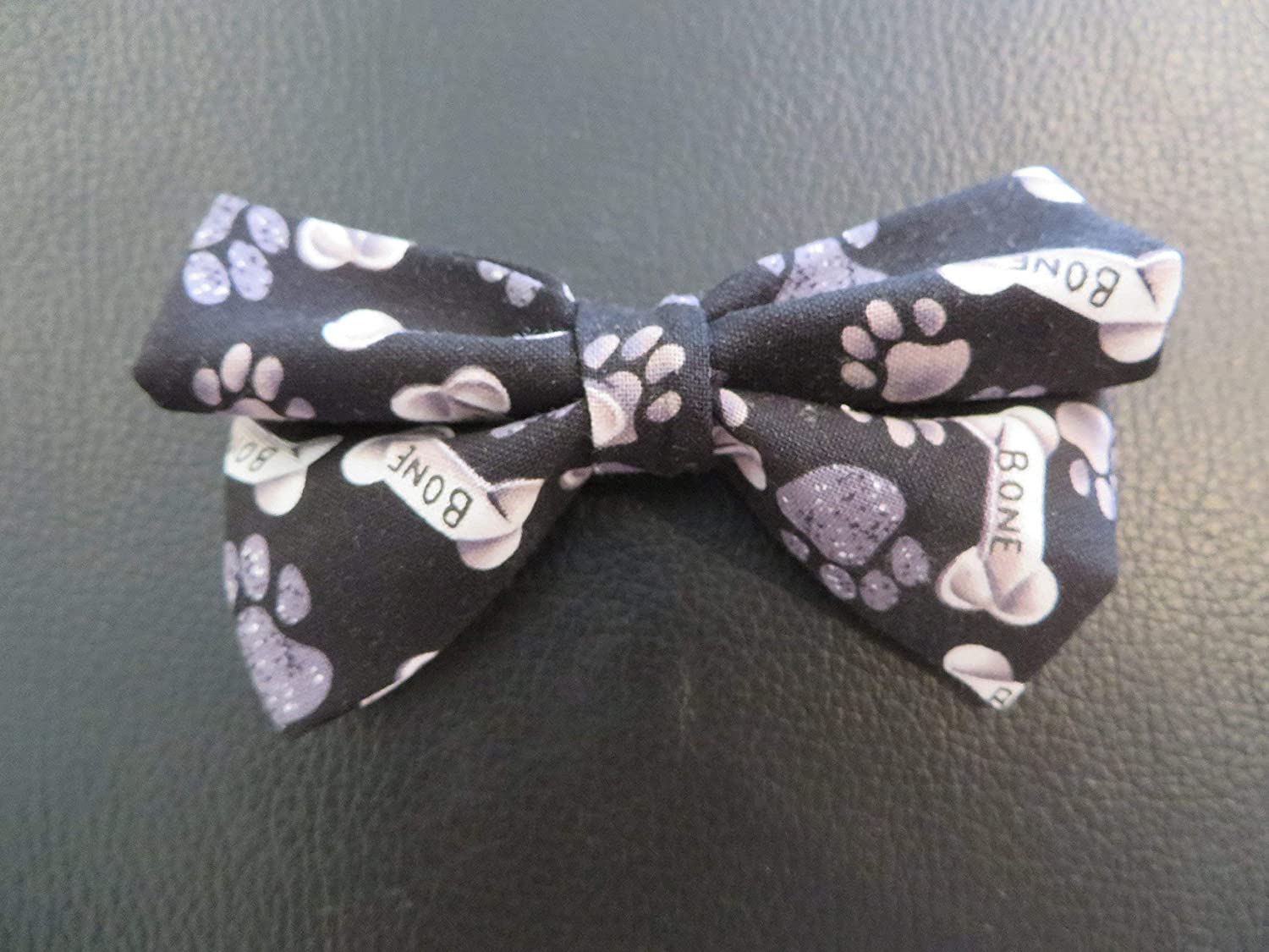 Dog Bow Tie in Grey, Black, and White Paws and Bones - Small 4 Only