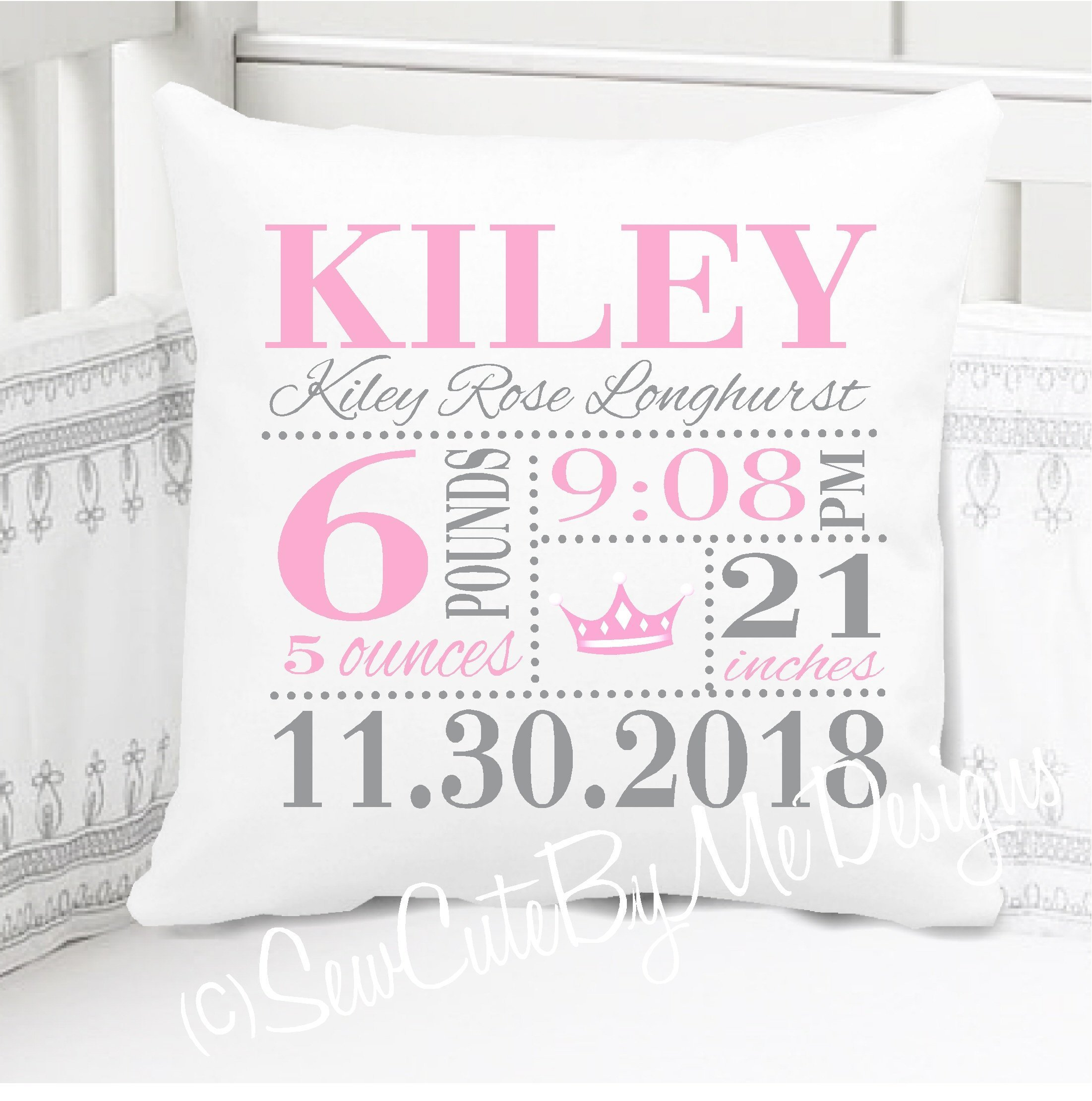 Sew Cute by Me Designs Birth Announcement Pillow for Baby Girls Pink Princess Nursery in Pink and Grey - Includes Personalized Pillowcase and Pillow Insert 14'' x 14'' or 16'' x 16''