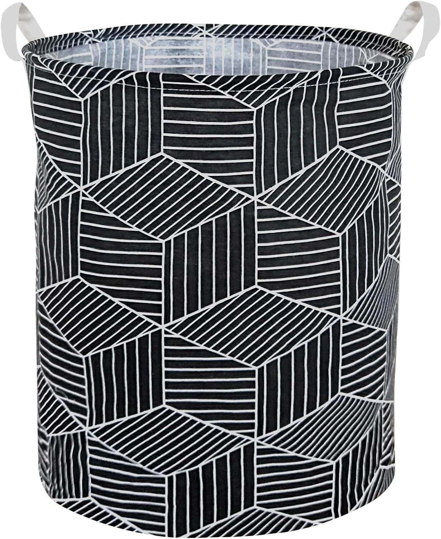 HIYAGON Large Laundry Hamper,Waterproof Laundry Baskets,Collapsible Canvas Basket for Kids Room,Toy Organizer,Home Decor,Nursery Hamper (Black Rhombus)
