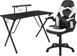 Flash Furniture Black Gaming Desk and White/Black Racing Chair Set with Cup Holder, Headphone Hook, and Monitor/Smartphone Stand
