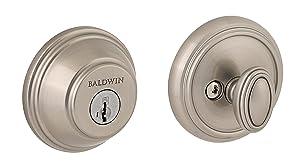 Baldwin Prestige 380 Round Single Cylinder Deadbolt Featuring SmartKey in Satin Nickel