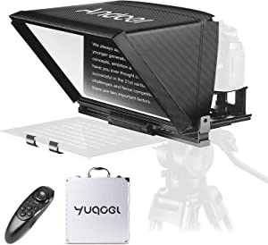 Universal Portable Teleprompter, Andoer A12 Prompter for Smartphone/Tablet/DSLR Camera Video Recording Live Streaming Interview Presentation Stage Speech, with Remote Control Carry Case