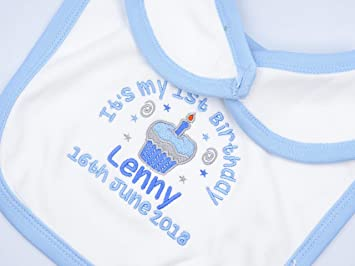 bc35b6a45 Personalised Embroidered Baby Bib - Boy's - It's My 1st Birthday Cupcake  Design Velcro Bib -