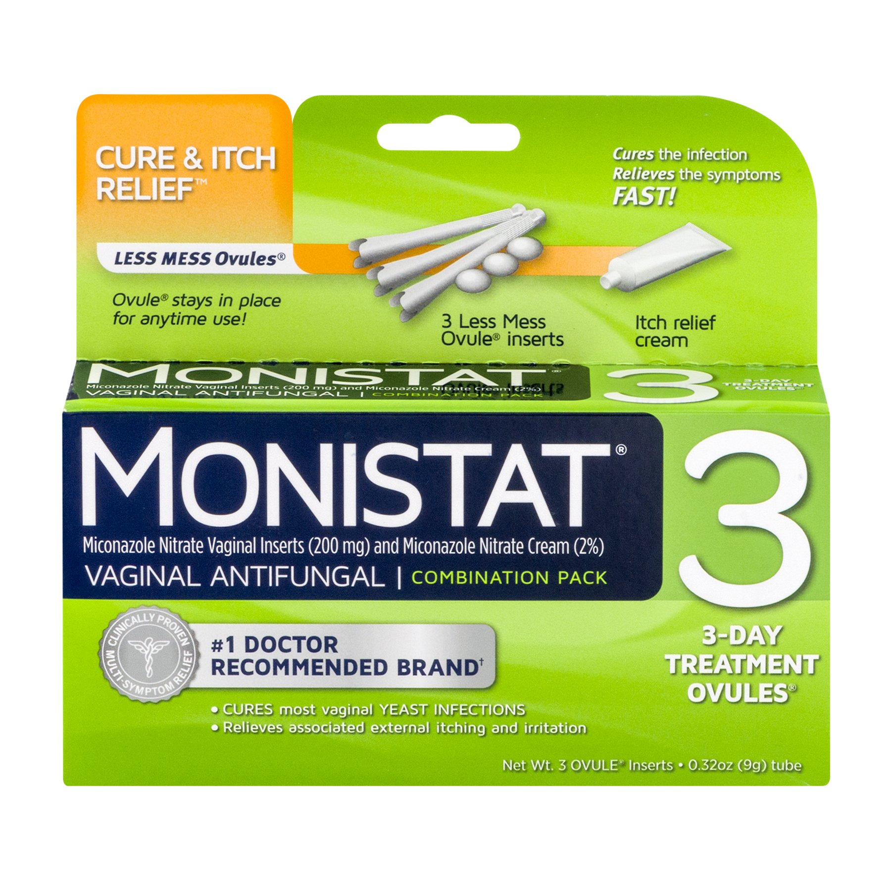 Monistat 3 Vaginal Antifungal Combination Pack - 3 Each, Pack of 2