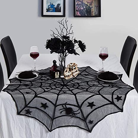 MACTING 40 Round Polyester Lace Cobweb Table Topper Mysterious Spiderweb Festive Supplies for Halloween Party Door Window Decoration Black