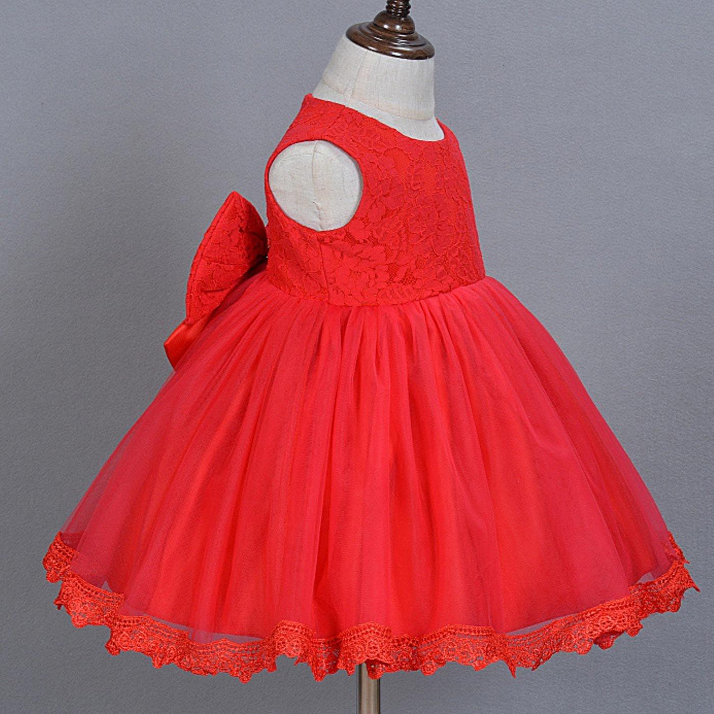 HAPPY CHERRY Babym/ädchen Kleider Baby S/ü/ßes Kleid Kleine Prinzessin Kleid /Ärmelloses Falten Kleid mit Gro/ße Schleife f/ür die K/örpergr/ö/ße 56-89cm 0-18 Monate