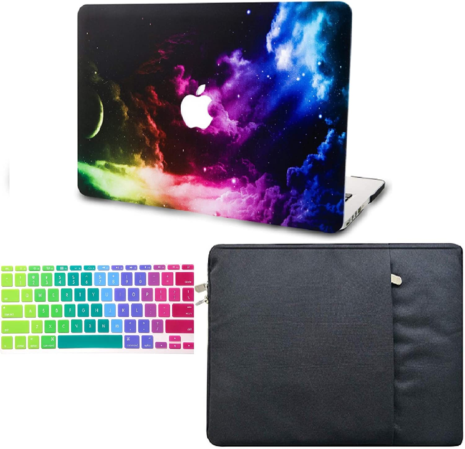 "KECC Laptop Case for Old MacBook Pro 13"" Retina (2015-) w/Keyboard Cover + Sleeve Plastic Hard Shell Case A1502/A1425 3 in 1 Bundle (Colorful Space)"