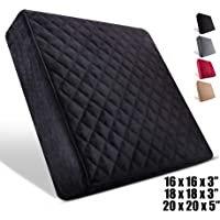 Comfortanza Chair Seat Cushion - 16x16x3 Inches Medium Firm Pure Memory Foam Non-Slip Pads for Kitchen, Dining, Office Chairs, Car Seats - Booster Cushion - Comfort and Back Pain Relief - Black