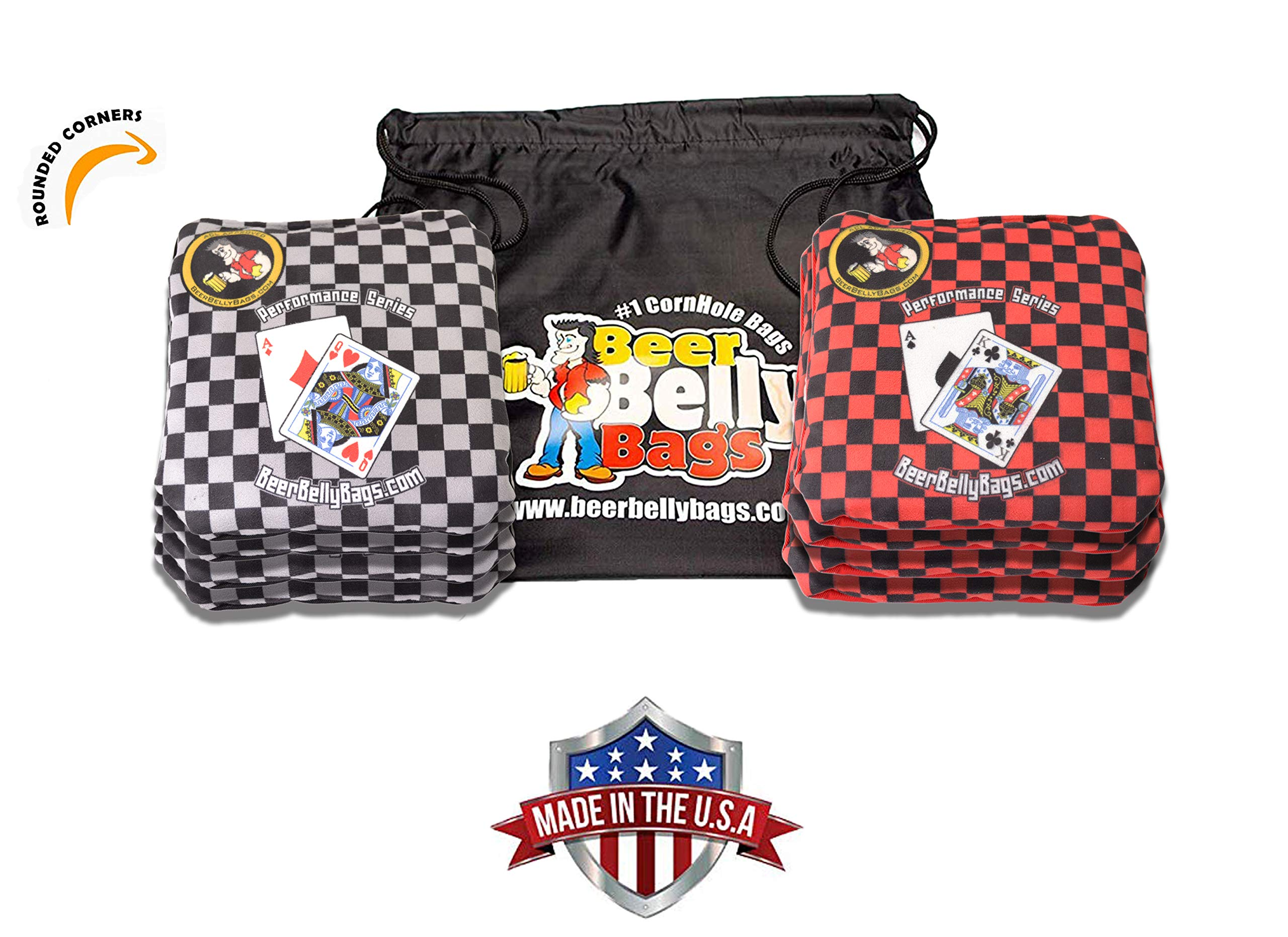 Beer Belly Bags Cornhole - Performance Series 8 Bags ACL Approved Resin Filled - Double Sided - Sticky Side | Slick Side (Blackjack) by Beer Belly Bags