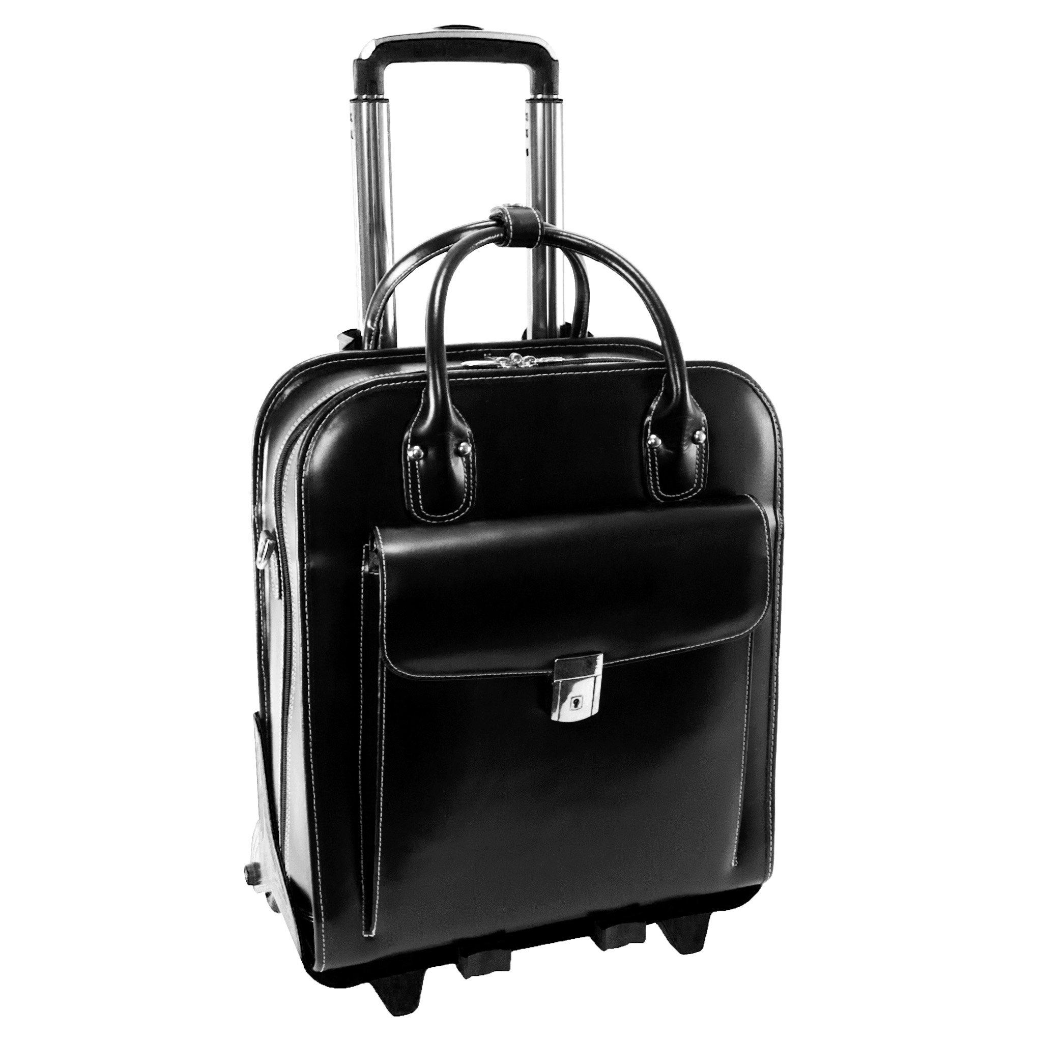 McKleinUSA LA GRANGE 96495 Black Leather Vertical Detachable-Wheeled Ladies' Briefcase