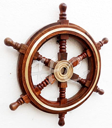 "Antique Wooden Maritime Decor 18/"" Captains Shipwheel Ships Wheel Steering Helm"