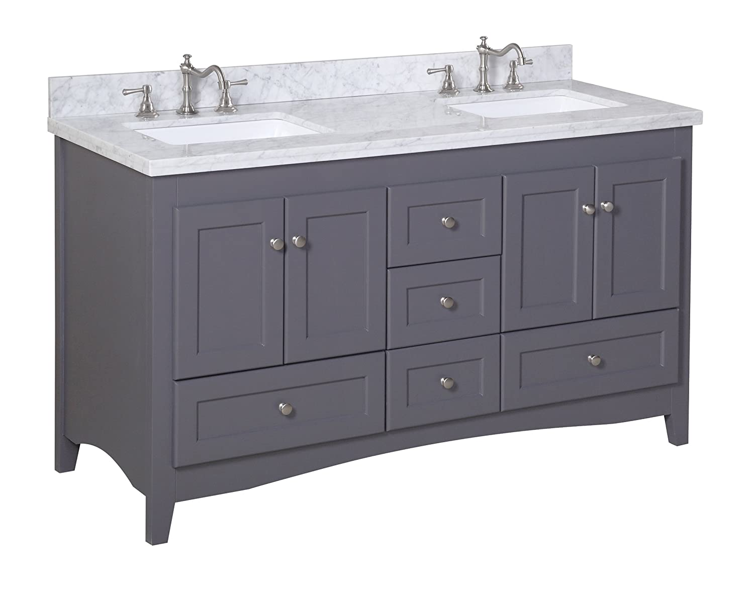 double bathroom vanity. Kitchen Bath Collection KBC38602GYCARR D Abbey Double Sink Bathroom Vanity  with Marble Countertop Cabinet Soft Close Function and Undermount Ceramic