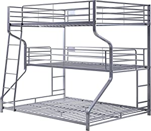 ACME Furniture Caius II Triple Bunk Bed, Twin/Full/Queen, Silver