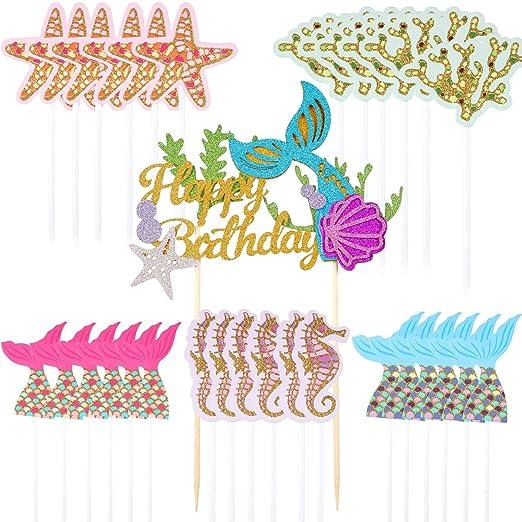 31 piezas de decoraciones para tarta de sirena, con ...