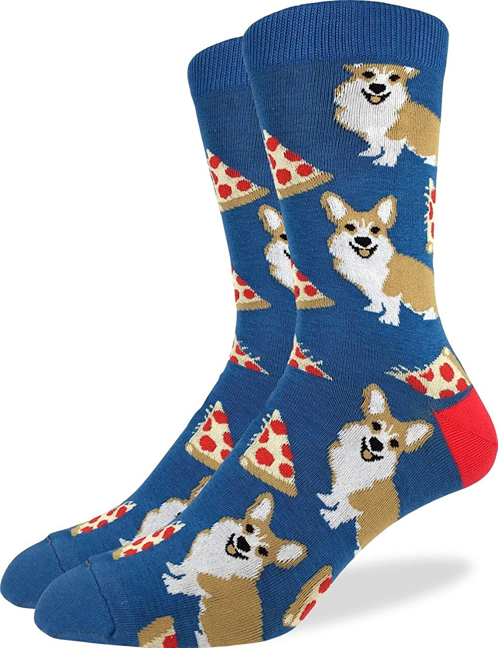 Good Luck Sock Men's Corgi Pizza Crew Socks - Blue, Shoe Size 7-12 1331