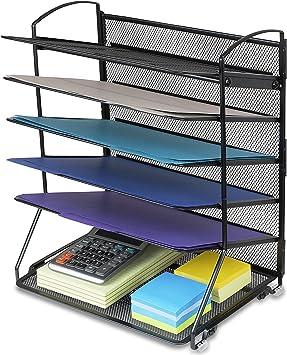 6 bandejas bandeja de documentos de escritorio organizador: Amazon.es: Oficina y papelería