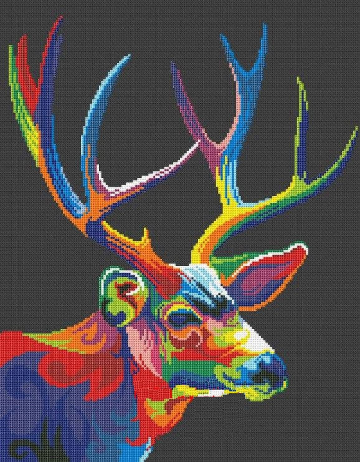 Colorful Deer Counted Cross Stitch Kit,14ct 42x49 cm Counted Deer Cross Stitch Kits