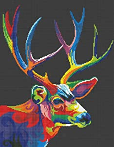 SWEET HOME Colorful Deer in Dark Counted Cross Stitch Kits, Egyptian Cotton Counted Cross Stitch Kits