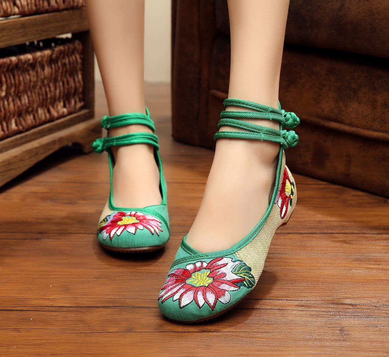 Fuxitoggo Bestickte Schuhe Sehnensohle Ethno-Stil weibliche Stoffschuhe Mode Mode Mode bequem lässig im Anstieg grün 37 (Farbe   - Größe   -) fb687c
