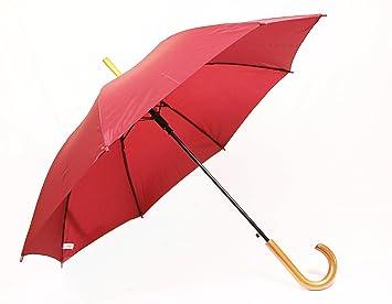 Paraguas de calidad de madera/Stock pantalla, color burdeos (Rojo Oscuro) automático