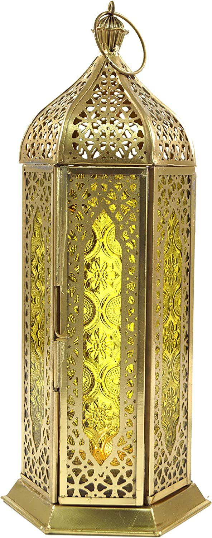 Lanterne 27x10,5x10,5 cm Guru-Shop Lanterne Orientale en Laiton//verre au Design Marocain Brass Orange Lanternes Orientales La Couleur : Orange