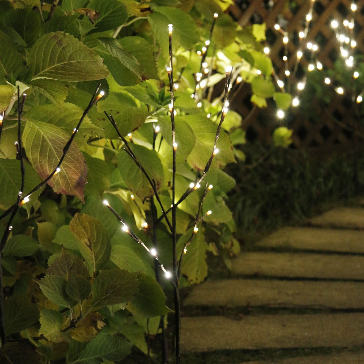 EAMBRITE 3PK 30 Brown Wrapped Lighted Twig Stake with 60LT Warm White LED bulbs for outdoor and indoor use 803007