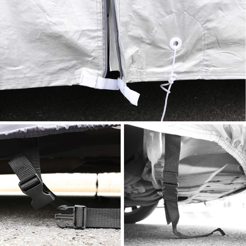 469x155x127cm Leader Accessories Funda para Coche de Aluminio y Algod/ón 2019 Versi/ón Mejorada Lona Cubierta Exterior de Sedan Resistente al Polvo Rasgu/ño Transpirable