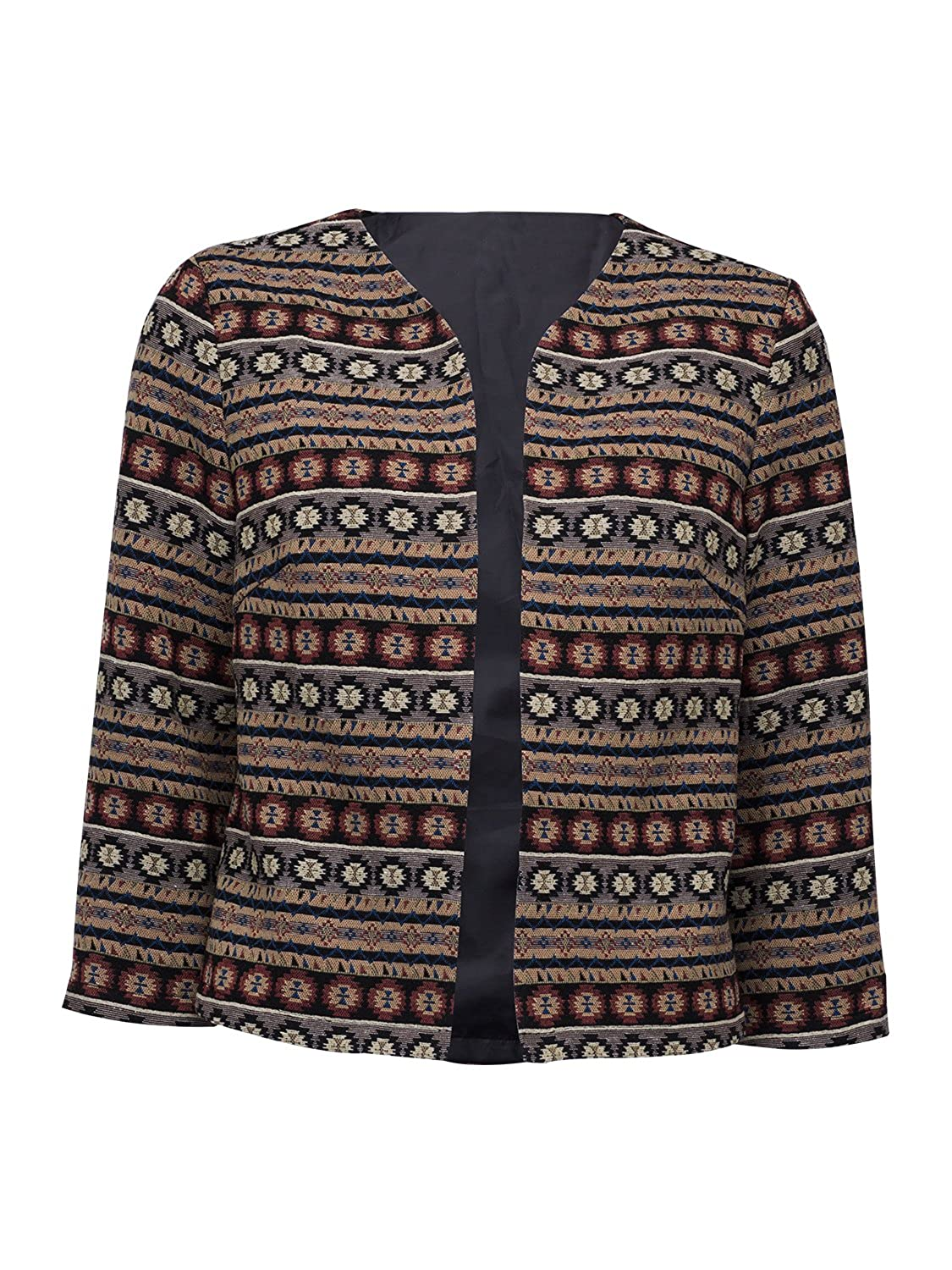 Choies Women Geo-Tribal Ethnic Embroidered 3/4 Sleeve Cardigan Jacket Retro Printed Coat CEAFPZ