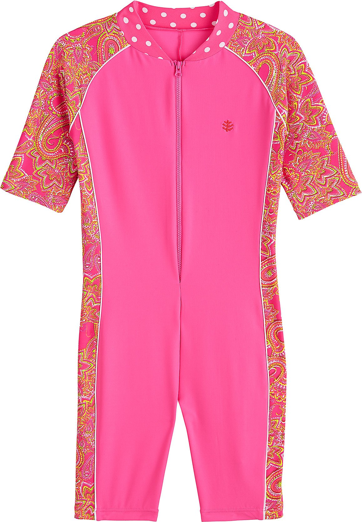 Coolibar UPF 50+ Kids' Neck-To-Knee Surf Suit - Sun Protective (Large- Pink Paisley)