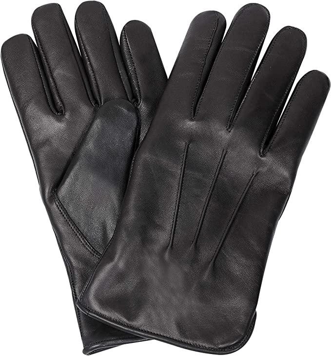 1940s UK and Europe Men's Clothing – WW2, Swing Dance, Goodwin Hand Fellow Mens Fashion Driving Black Leather Gloves Wool Cashmere Lining Fleece Touch Screen Compatible Outdoor Leather Driving Gloves Winter Warm Leather Glove £14.99 AT vintagedancer.com