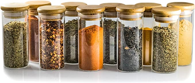 Glass Jars Set 8.5oz 12 Set Spice Jars with Bamboo Airtight Lids and Labels,