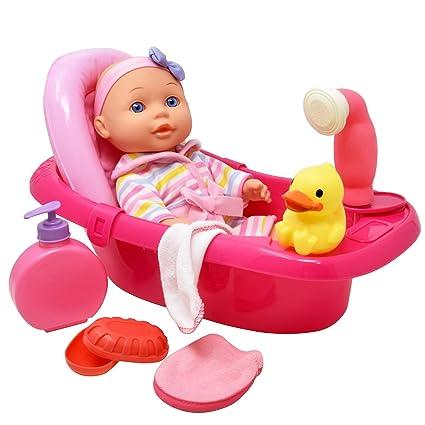Baby Alive Bath Tub.Baby Doll Bathtub Set 12 Inch Vinyl Doll With Bathtime Accessories Bath Tub Shower Sprays Water Washcloth Toy Soap And Shower Gel Rubber Duck