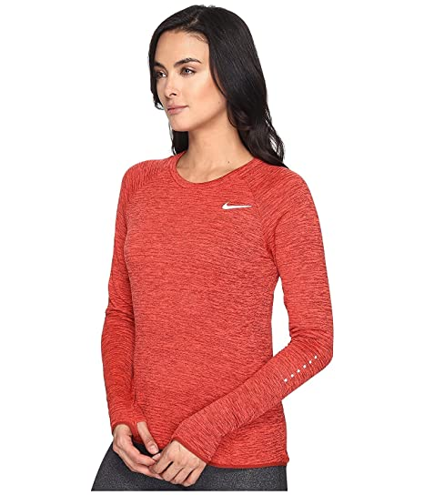 abf6087de Nike Therma Sphere Element Crew Top Womens (M, Dark Cayenne/Heather)