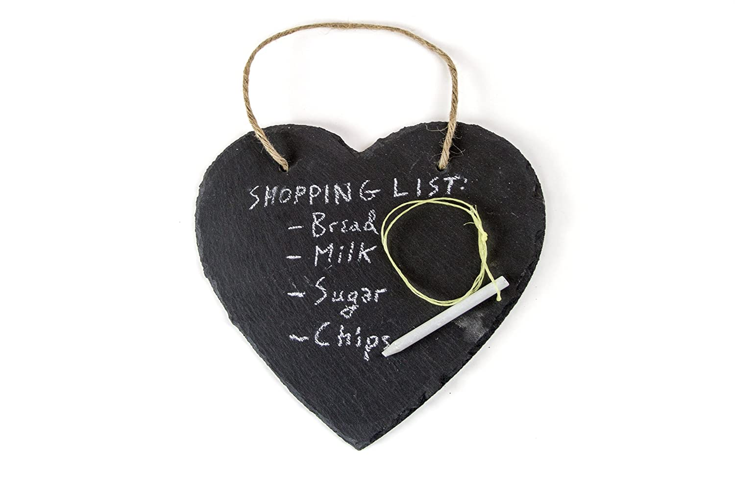 FRESHeTECH Slate Heart Kitchen Hanging Chalkboard - Great for Writing Morning Notes with Chalk 7 1/2