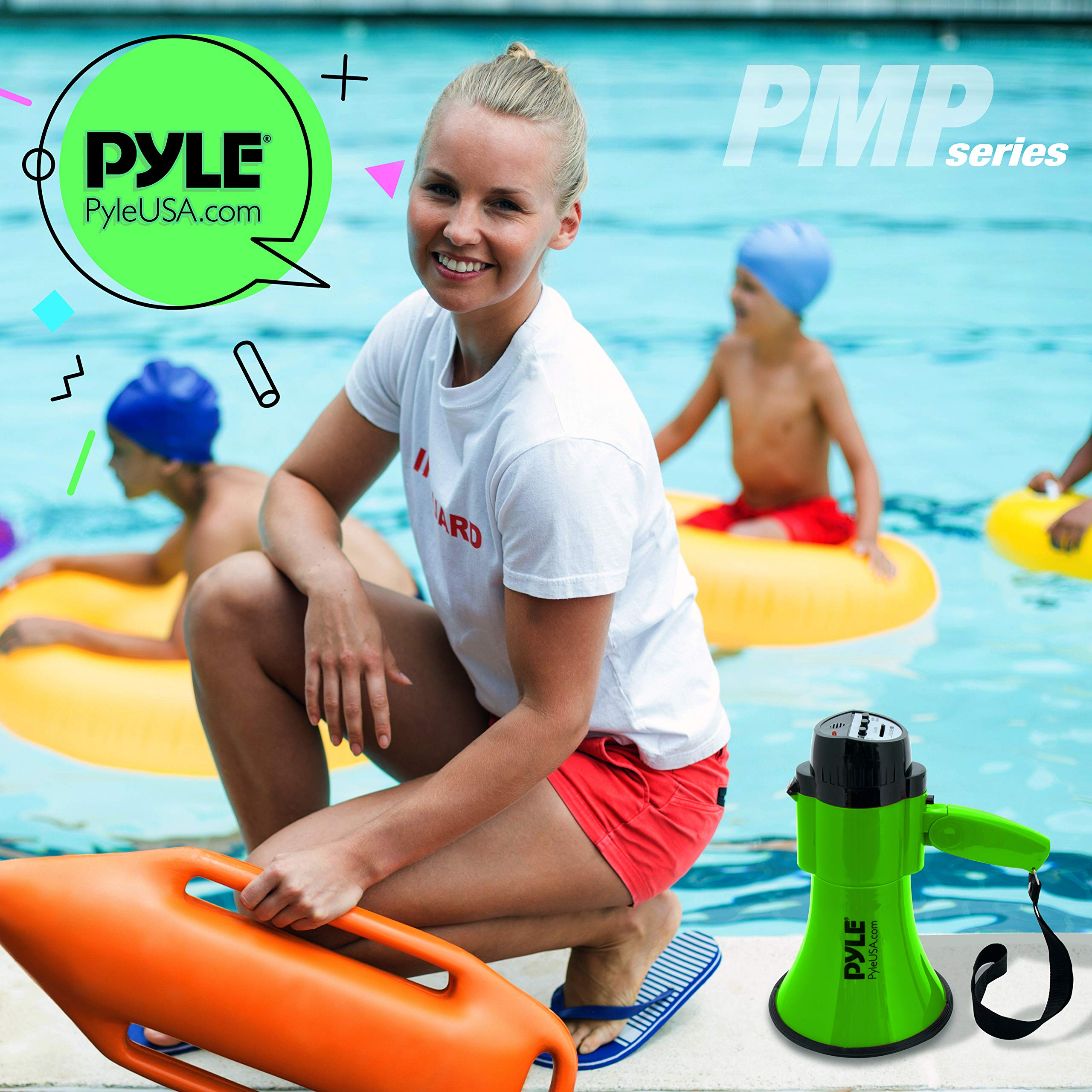 Portable Megaphone Speaker Siren Bullhorn - Compact and Battery Operated with 30 Watt Power, Microphone, 2 Modes, PA Sound and Foldable Handle for Cheerleading and Police Use - Pyle PMP32GR (Green) by Pyle (Image #7)