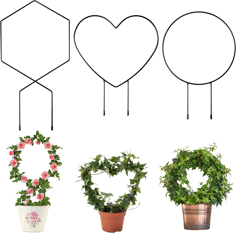 WATINC 3 Pack Metal Garden Trellis for Climbing Plants 3 Shape Heart Round Hexagon Black Rust-Proof Coated Iron Trellis with 15Pcs Twist Ties for Indoor Potted Plant Outdoor Flower Vegetables