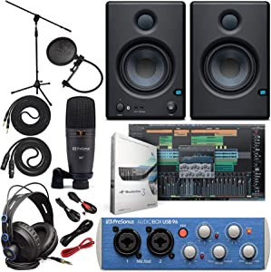 """PreSonus AudioBox 96 Audio Interface (May Vary Blue or Black) Full Studio Bundle with Studio One Artist Software Pack with Eris 4.5 BT Pair Studio Bluetooth Monitors and 1/4"""" Instrument Cable"""