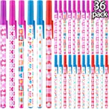 Valentine's Day Theme Pens Pink Heart and Bow Pens Valentine Party Ink Pens for School Office Home Stationery Supplies(36)